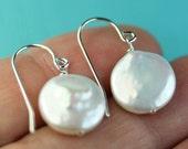 Coin Pearl Earrings, Simple Shepherd hooks, sterling silver, gift idea for her, Free shipping in Canada, drop earrings, under 25 dollars