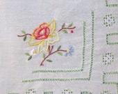 Vintage linen white hankie with yellow and red rose embroidered in corner, cutwork