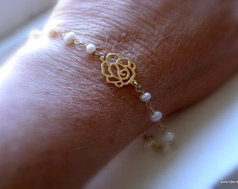 White Pearl Bracelet , Rose Charm Bracelet , Gold bracelet , Wire wrapped Gemstone Bracelet June Birthday