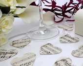 Large paper heart wedding confetti- 100 vintage sheet music die cut punched hearts 5cm by 4cm- Great romantic wedding table decoration