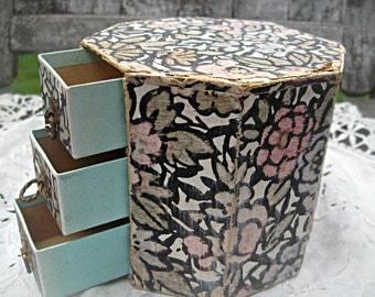 Antique English hair pin box, 3 drawers, art deco wallpaper, brass pulls, wallpapered box, tiny trinket box, small jewelry box octagonal box