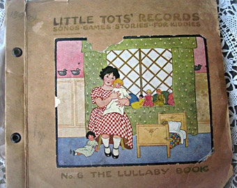 Vintage child's records, 1940's LittleTot's records book, charming case, nursery decor, mixed media baby album base, collectible records