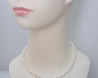 Flower Girl Necklace, Swarovski Ivory Pearl Necklace, Flower Girl Jewelry, Flower Girl Gift, All Around Pearl Necklace, Gift for Flower Girl