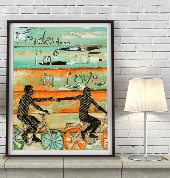 ART PRINT, friday I'm in love, the cure print, couple,love, wedding gift, engagement gift, anniversary gift, collage, mixed media, All Sizes