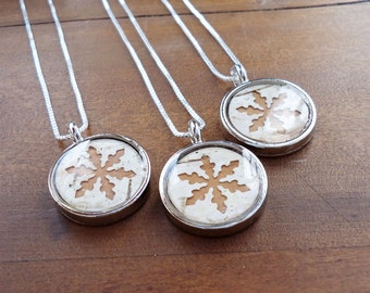 Rustic Winter Wedding Necklace - White and Brown Birch Bridesmaid Jewelry - One Necklace