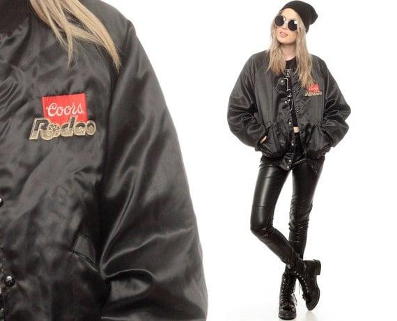 Rodeo Jacket SATIN Baseball Jacket 80s BEER Coors Light Black