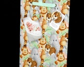 "Jungle Magnetic Board - Lions Tigers Bears Fabric - Wall Hang (11"" x 16"")"