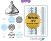DIY editable printable Custom Candy Labels Polka Dot Chevron Blue Gray Boys Baby Shower Favors Decoration Baby Shower Decor No.k25