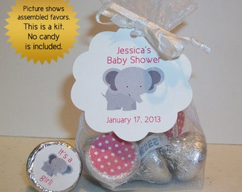 baby shower favor kits (No.k18) girl elephant organza bags hang tags and stickers