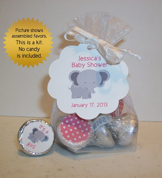 Items Similar To Baby Shower Favor Kits (No.k18) Girl Elephant Organza Bags  Hang Tags And Stickers On Etsy