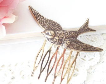 Ox Brass Flying Sparrow Hair Comb - Swallow Hair Comb - Flying Bird Hair Comb - Woodland Hair - Wedding Hair Comb - Ox Brass Bird Comb