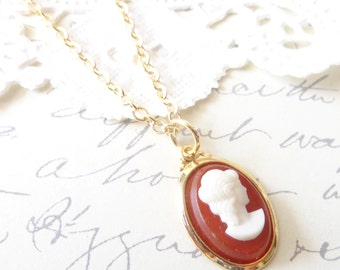 Lady in Red - Amber Red Cameo Necklace - Red Cameo - Gold Necklace