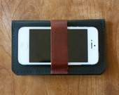 Leather iPhone Wallet - The DaKoda - in True Black and Brown