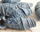 PRE-ORDER Dusty Denim Blue - Queen Anne's Lace boho chic painted pressed flower wrapped big hole bead (pre-order - ships in 2-3 weeks)
