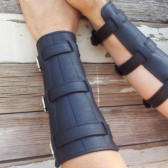 "Steampunk Black Leather Bracers or Gauntlets with Nickel Hardware 6 1/4"" - 7 3/4"" wrist"
