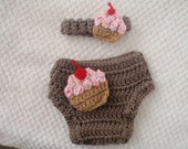 sALE. crochet cupcake diaper cover and headband 0-3 months baby girl