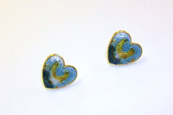 Vintage Cloisonne Love Bird Pet Love Dove Nature Woodland Earrings Grey Gray DEADSTOCK Boho Post