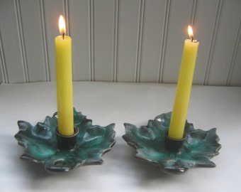 Vintage Candle Holders Green Maple Leaf Canada