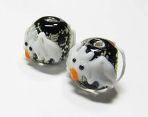 LOOSE BEADS - Lampwork Glass Art Beads - Glow In the Dark Black, White, Orange, and Clear Round Halloween Bats (2 beads) - gla849