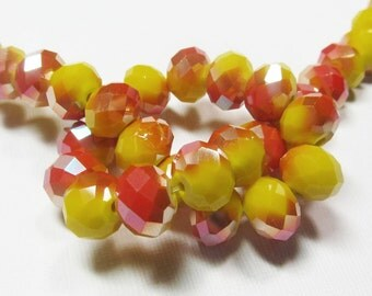 LOOSE Glass Beads - Glass Crystal Beads - 9x11mm Faceted Rondelle - Opaque Yellow with Metallic Red Orange (5 beads) - gla813