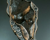 One Of A Kind Antiqued Sterling,14k Anthracite Coal Brooch/Pendant. FREE STANDARD SHIPPING