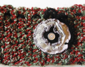 Adjustable Green and Red Crocheted Neckwarmer with Handmade Recycled Sweater Flower