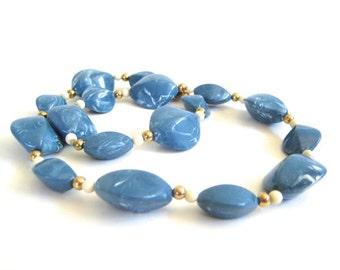 Vintage 80's Avon // Capri Blue Mediterranean Beaded Necklace
