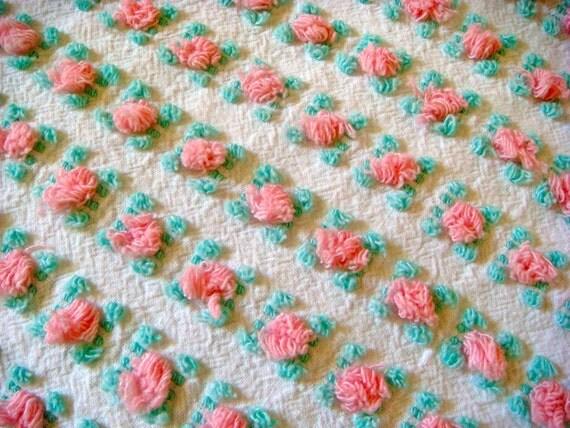 Vantona Pink Rosebud Vintage Cotton Chenille Bedspread Fabric 19.5 x 23