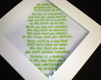 Wedding poem handkerchief  - FREE SHIPPING - machine embroidered with poem and in gift box
