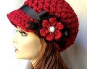Crochet Womens Hat, Newsboy, Cranberry Red, Very Soft Chunky Wool, Flower, Ribbon, Warm, Teens, Winter, Ski Hat, JE806N7