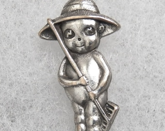 "Kewpie Pin / Brooch ""The Farmer""  Silver Plate Vintage"