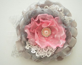 grey gray pink romantic rose, weddings accessories hair, bride bridesmaids, satin flowers, brooch, bridal hair clip, flower for sash