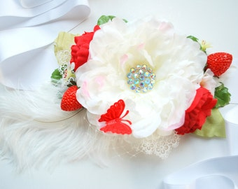 large white peony, strawberry, weddings accessories, bridal flower satin sash, maternity belt, bridesmaids, red berries, farm wedding