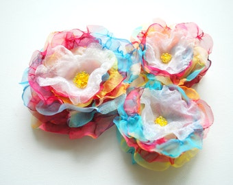 SALE, cij,  rainbow colorful handmade chiffon flowers, weddings hair accessoriy, colorful bridal hair clip, bridesmaids, flower girls