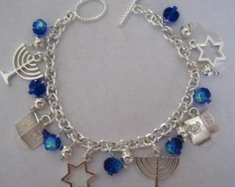 Vintage Style Hanukkah  Jewish Charm Bracelet