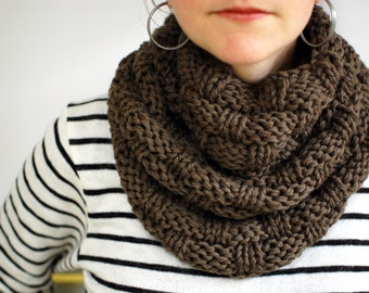 Olive Green Wool Basket Weave Knit Chunky Infinity Scarf, Loop Scarf, Chunky Cowl (D02)