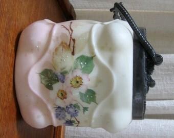 Vintage Wave Crest Biscuit Jar Hand Painted Floral Pink Blue Green Metal Rim 1800s