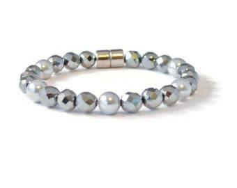 Black/Silver Magnetic Hematite Bracelet, Arthritis Pain Relief Jewelry