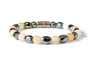 Magnetic Hematite Therapy Bracelet with Peach Gemstones