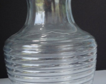Anchor Hocking Glass Decanter with Glass Lid. Manhattan pattern.