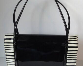 Mid Century Black and White Patent  Handbag. Marked.
