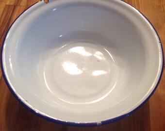 Vintage Blue Rimmed Enamel Bowl