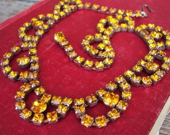 Vintage Rhinestone Necklace Citrine Gold Glass Stones in Pronged Settings