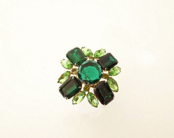 Vintage Green Rhinestone Brooch Emerald and Peridot 1950 Costume Jewelry Accessories