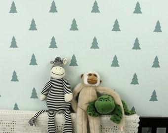 Fir Trees Allover Stencil - Reusable stencils for DIY wall decor - better than wallpaper!