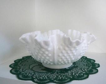 Vintage Serving Milk Glass Hobnail Bowl Fluted Rim Fenton