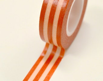 Washi Tape - 15mm - Tomato and Cream Vertical Stripes - Deco Paper Tape No. 862