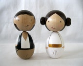 Large Kokeshi Princess Leia Han Solo Peg Doll collectable Wedding Cake Topper