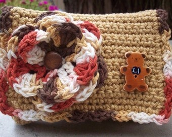 Special Price!  ~  Crocheted Purse  ~  Camel and Variegated with Ceramic Teddy Bear Button Crocheted Cotton Little Bit Purse