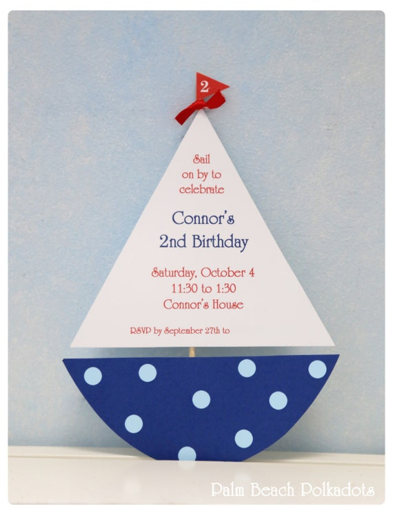10 Sailboat Nautical Birthday or Baby Shower Party  Invitations by Palm Beach Polkadots.com